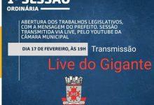 Foto de Live do Gigante na 1ª Sessão da Câmara de Vereadores de SAJ; prefeito Genival fará  leitura da mensagem
