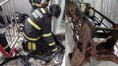 Foto de SAJ: Carregador na tomada explode e fogo atinge sofá em residência na Salgadeira