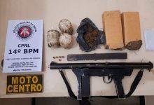Foto de Metralhadora, granadas, munições e drogas são encontradas pela Polícia em Santo Antônio de Jesus
