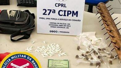 Foto de Polícia Militar prende suspeito com drogas em Maragogipe; comparsas fugiram